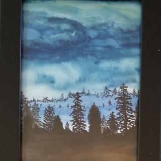 Mountain dark day original watercolor painting