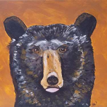 Whimsical brown bear painting