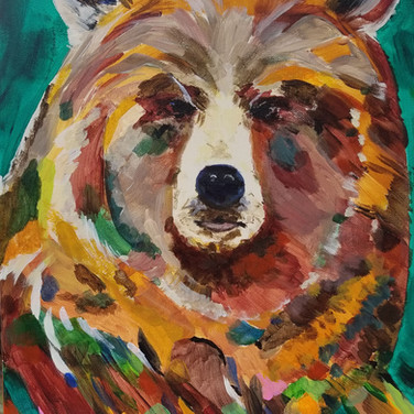 Bear painting in browns and greens