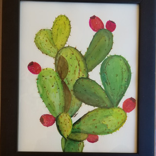 Cactus framed watercolor painting