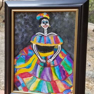 Watercolor Catrina framed