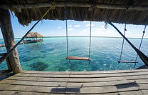 swings in the lake of Bacalar, in Mexico