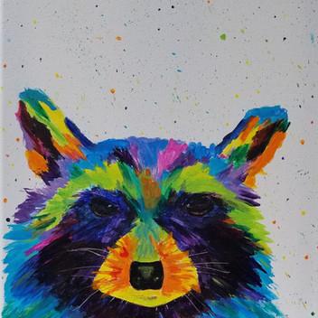 Skittles - colorful and whimsical raccoon painting