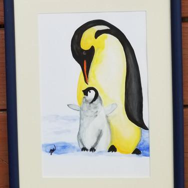 Framed watercolor penquins
