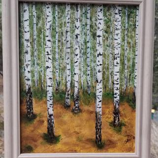 Birch trees original acrylic painting