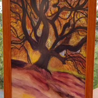 Tree on hill original watercolor painting