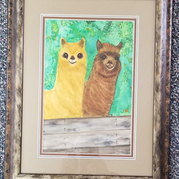 Alpaca buddies original watercolor painting