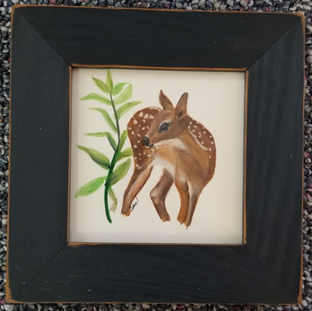 Solo fawn and plant framed  7 x 7 inches $50