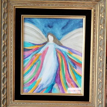 Watercolor angel in gold frame