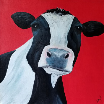 Black and white cow original acrylic painting