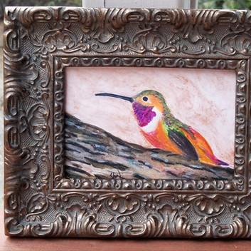 Framed watercolor hummingbird
