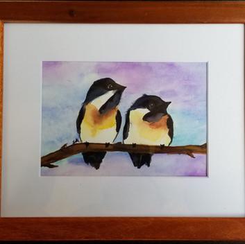 Two birds original watercolor painting