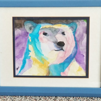 Colorful Bear original watercolor painting