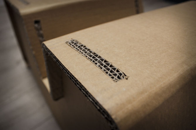 design, siège, carton