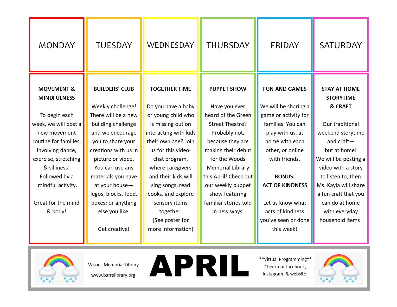 schedule april