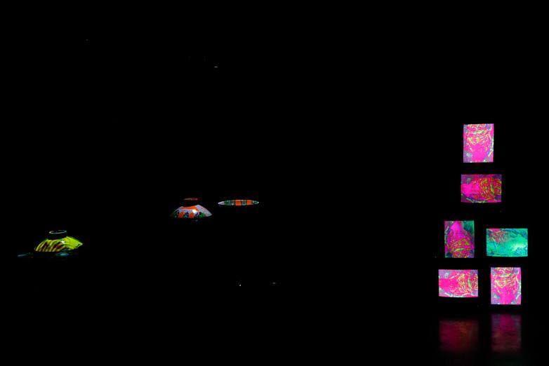 Installation View (Dark): Energetic Vessels: Flow-Through Transformation