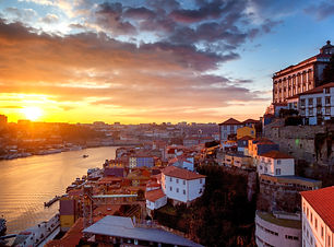Porto, Portugal old city skyline from ac