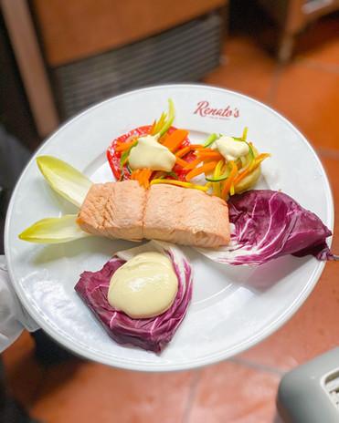 Poached salmon salad...