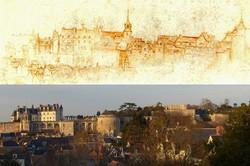 Chateau-royal-dessin-de-Leonard-de-Vinci-et-photo-aujourdhui-depuis-site-les-terrasses-royales