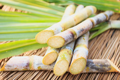 close-up-sugarcane-witn-leaf-wood-table.