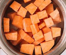 overhead-view-sweet-potatoes-slice-boili