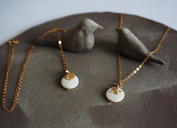 Collier Sea Nacre et gold filled