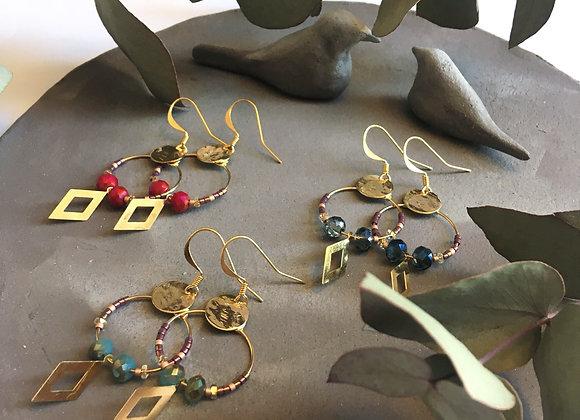 Pimpante - Boucles d'oreilles dorées et perles