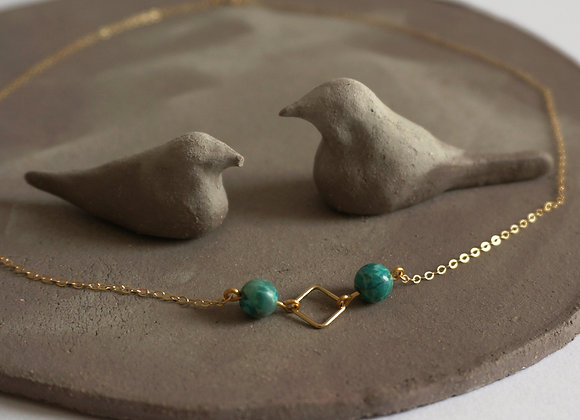 Collier Losange Turquoise et gold filled