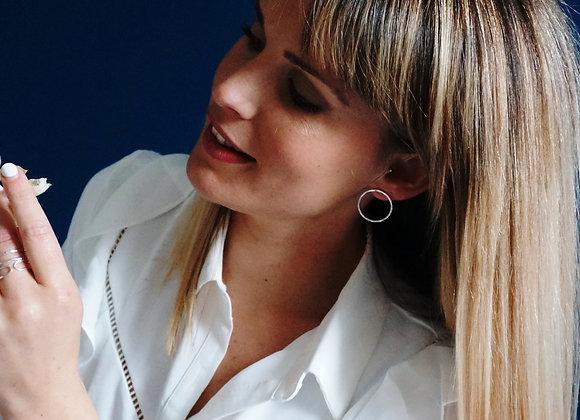 Candeur - Boucles d'oreilles rondes martelées en Argent 925