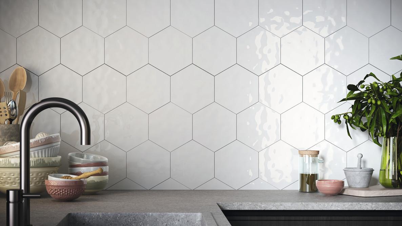 """White 7x8"""" Hexagon"""