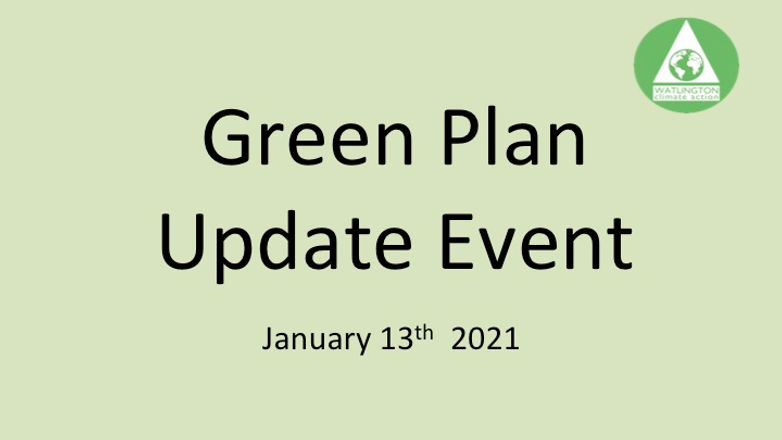 Green Plan Update Event
