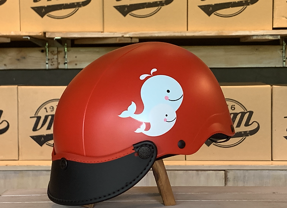 VROOM Kids NonSon Red Whale Bike Helmet