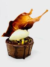 Baked Chocolate Cheesecake, Pistachio Cream, Chocolate Tuile
