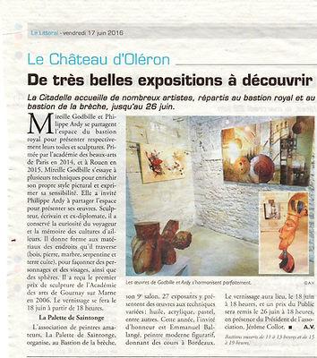 Philippe ardy exposition Bastion Royal Le Château d'Oléron juin 2016