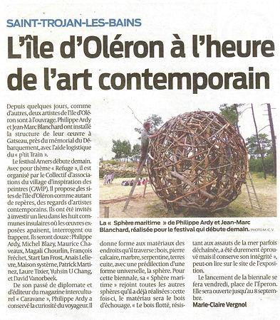 Sphère maritime Philippe Ardy / Jean Marc Blanchard Biennale AMERS 2016 Oléron