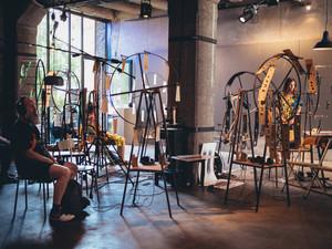 Installation sonore, graphique et mécanique par les collectifs Etrange Miroir et Kraken Sérigraphie  3/6