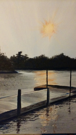 Painting of Sunset Beauty Bay Lodge