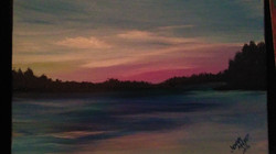 Hand Painted Sunset at Beauty Bay