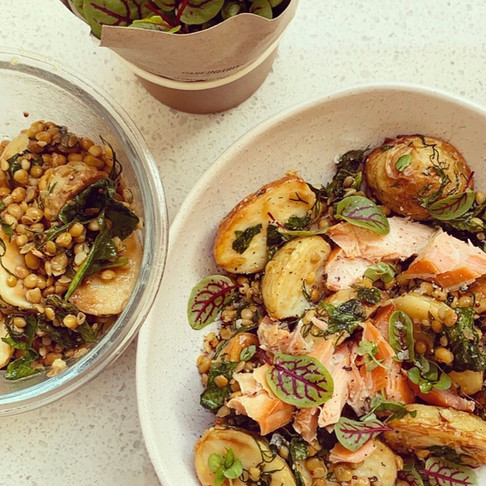 Herby Roasted Potato and Green Lentil Salad with honey, lemon and wholegrain mustard dressing