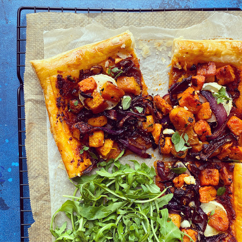Butternut squash,caramelised red onion and goats cheese tart