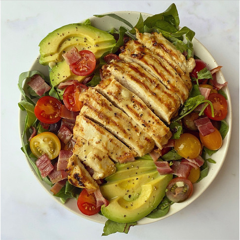 Chicken, bacon and avocado salad with honey mustard dressing