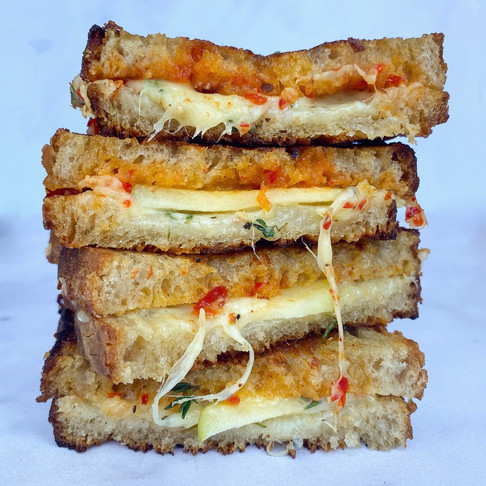 Grilled cheese, apple, thyme and chilli jam sandwich