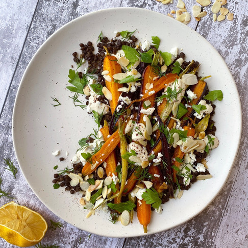 Honey roasted carrot & lentil salad with tahini dressing