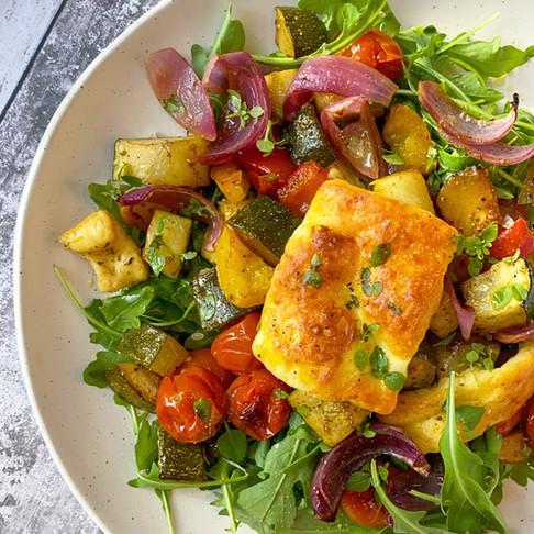 Vegetable and halloumi traybake