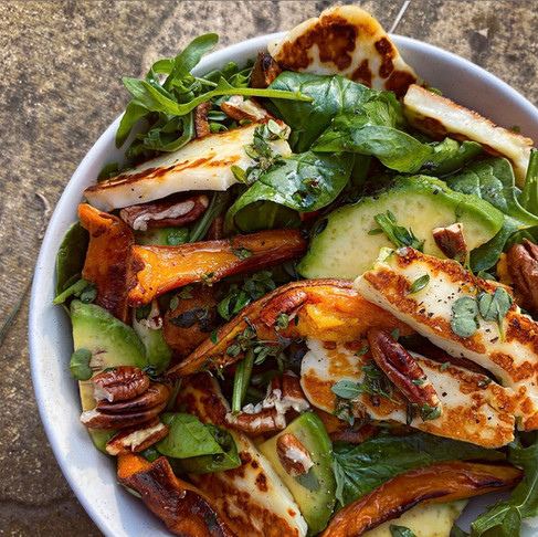 Roasted Sweet Potato and Halloumi Salad, with  toasted pecans and a lemon, honey and thyme dressing