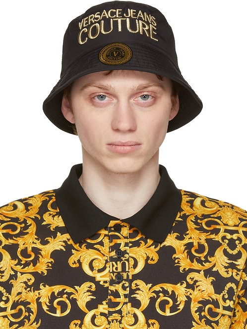 """Versace Jeans Couture """"Black & Gold"""" Logo Bucket-Hat"""