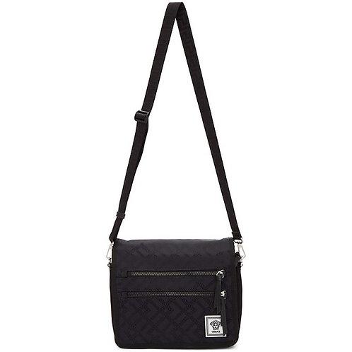 Versace Black & Navy Nylon Greek Drawing Messenger Bag
