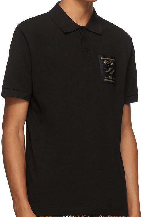 """Versace Jeans Couture Black & Gold """"Warranty Tag"""" Polo"""