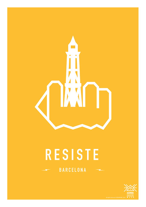 RESIST BARCELONA . (Montjuic cable car tower)