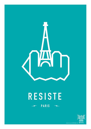 RESIST PARIS. EFFEIL TOWER . BLUE GREEN . Original Screenprint by ASTERONYME LONDON . Screen printing . Limited editon . 250pcs . Paper 300 gsm Satin . RESIST THE WORLD . Travelling Exhibiton .  Available in the ASTERONYME GALLERY. E1 6Ql 92 Brick Lane, In the Tea Rooms, and on the website. www.asteronyme.co.uk